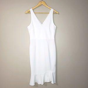 Betsy Johnson White Sleeveless Size 4 Ruffle Dress